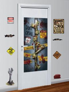 Schauriges Zombie Halloween Partydeko-Set 9-teilig bunt
