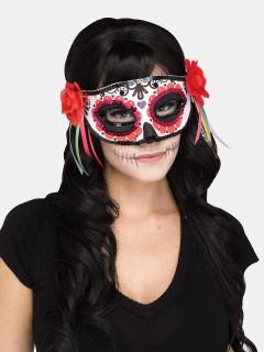 Tag der Toten venezianische Augenmaske Sugar Skull rot-bunt