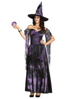 Wahrsagende Hexe Damenkostüm Zauberin lila-schwarz