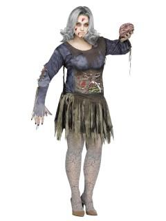 Schauriger Zombie Plus Size Halloween-Damenkostüm grau-grün
