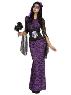 Tag der Toten-Kleid Halloween-Damenkostüm schwarz-lila