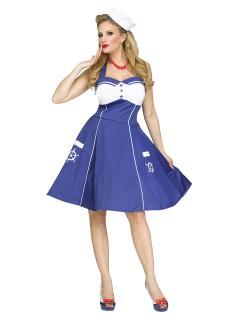 50er-Jahre Matrosin Damenkostüm Sailor Girl blau-weiss