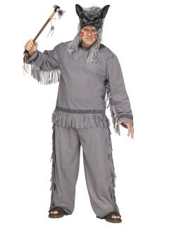 Wolf-Jäger Indianer Plus Size Kostüm Western grau