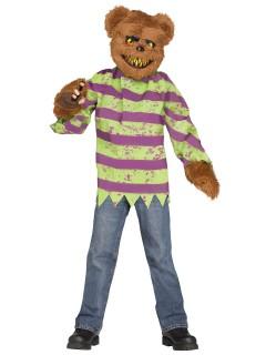 Killer Teddybär Halloween-Kostüm braun-bunt