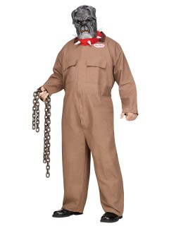 Blutrünstiger Hund Halloween-Kostüm Sträfling Plus Size orange-grau