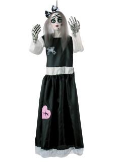 Gruselige Porzellan-Puppe Halloween-Hängedeko bunt 91cm
