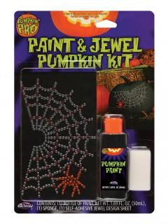 Kürbis Sticker-Set Strasssteine Spinnennetz Halloween silber-schwarz-rot