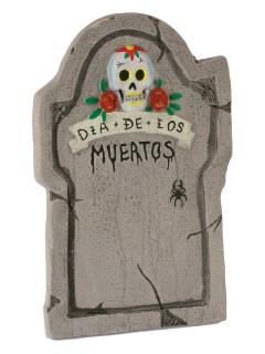 Tag der Toten Grabstein mit kleinem Totenschädel Halloween-Deko grau-bunt 56cm