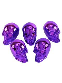 Glänzende Totenschädel Halloween-Deko 5 Stück lila 8cm