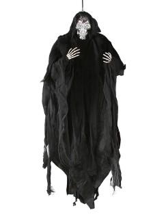 Gruseliges Skelett Halloween-Hängedeko Tod schwarz-silber 81cm