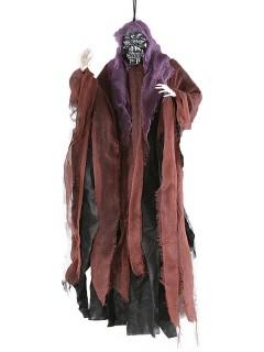 Gruseliges Skelett Halloween-Hängedeko Tod kupfer-schwarz-lila 81cm