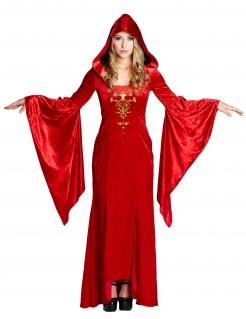 Mittelalterliche Robe Damenkostüm Gothic rot-gold