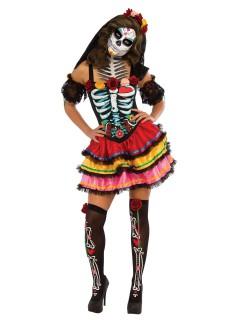 Bezauberndes Sugar Skull Damenkostüm Tag der Toten schwarz-weiss-bunt