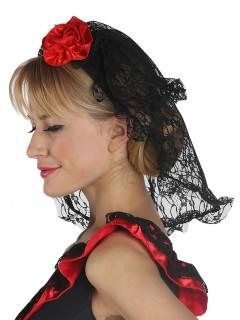 Spanischer Rosen-Haarreif mit Schleier schwarz-rot