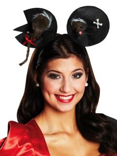 Zombie Maus-Haarreif mit Ohren schwarz-weiss