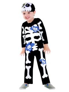 Süsses Skelett Halloween-Kinderkostüm schwarz-weiss-lila