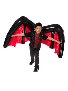 Aufblasbare Riesen-Fledermausflügel für Kinder schwarz-rot 183x68cm