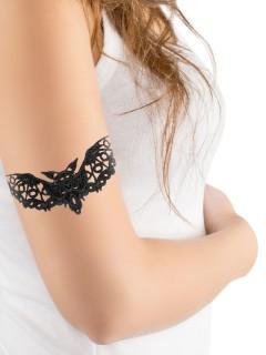 Gothic Spitzen-Tattoo Fledermaus Halloween-Accessoire schwarz 14cm