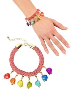 Kordel-Armband mit Totenköpfen Accessoire bunt
