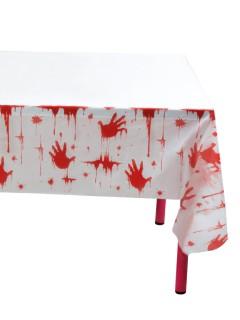 Blutige Handabdrücke Halloween-Tischdecke 2 Stück weiss-rot 135x275cm (Bundle)