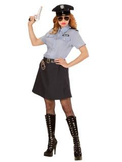 Polizistin Plus Size Damenkostüm Cop hellblau-dunkelblau-schwarz