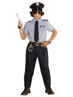 Polizist Kinderkostüm Cop hellblau-dunkelblau-schwarz