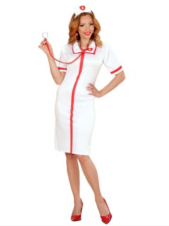 Sexy Krankenschwester Damenkostüm weiss-rot
