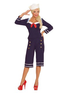 50er-Jahre Pin-Up Matrosin Damenkostüm Sailor Girl blau-rot-weiss