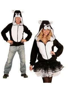 Katze Kapuzen-Hoodie Kostüm-Pullover schwarz-weiss