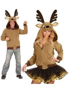 Rentier Kapuzen-Hoodie Kostüm-Pullover braun