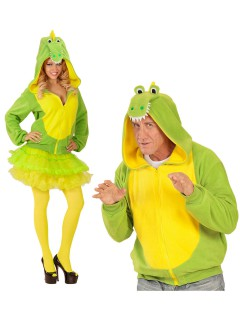 Krokodil Kapuzen-Hoodie Kostüm-Pullover grün-gelb-weiss