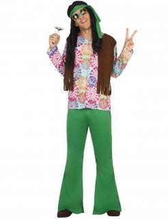60er Jahre Hippie Kostüm grün-bunt