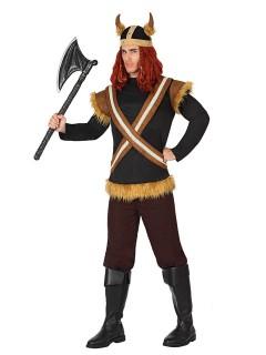 Gefährlicher Wikinger Kostüm Krieger braun-schwarz