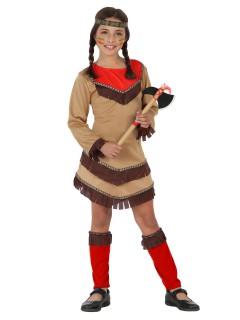 Kleine Indianerin Kinderkostüm Wilder Westen braun-rot