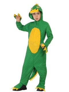 Gefährlicher Dinosaurier Kinderkostüm Drache grün-gelb
