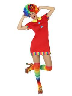 Süsse Clownfrau Damenkostüm Spassmacherin Zirkus rot