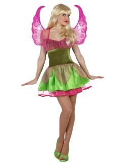 Zauberhafte Fee Damenkostüm Elfe grün-pink