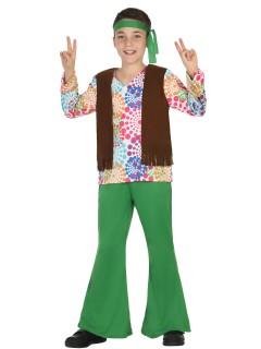 Kleiner Hippie Kinderkostüm 60er Jahre grün-bunt