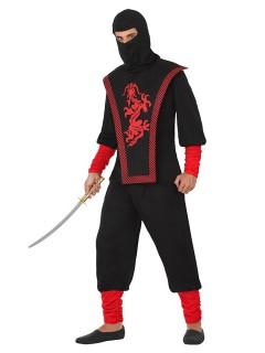 Gefährlicher Ninja Kostüm Krieger schwarz-rot