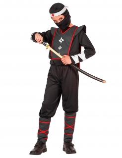 Gefährlicher Ninja Kinderkostüm Krieger schwarz-weiss