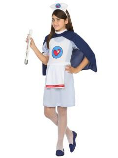 Kleine Krankenschwester Kinderkostüm ärztin blau-weiss
