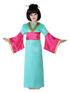 Kleine Geisha Kinderkostüm Japanerin grün-pink