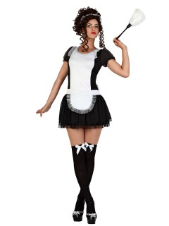 Heisses Hausmädchen Damenkostüm Zimmermädchen schwarz-weiss