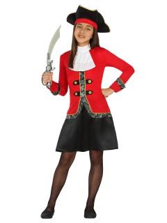 Piratin Kinderkostüm Seeräuberin rot-schwarz