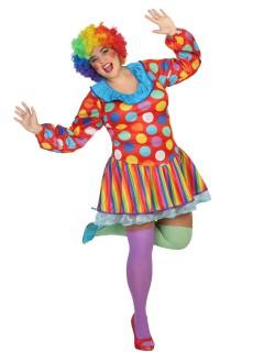 Lustige Clownfrau Zirkus-Damenkostüm Plus Size bunt