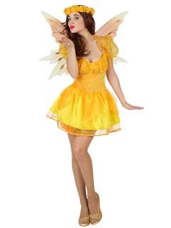 Märchen-Fee Damenkostüm Elfe gelb