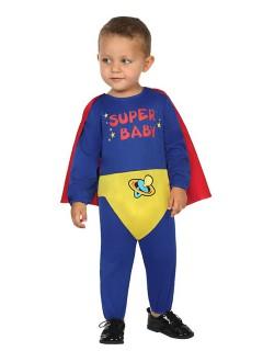 Superheld Babykostüm Jumpsuit blau-gelb-rot
