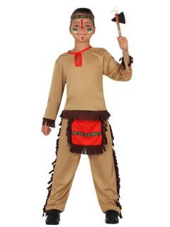 Kleiner Indianer Kinderkostüm Wilder Westen braun-rot