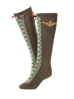 Zelda-Socken Videospiel-Kniestrümpfe braun-grün