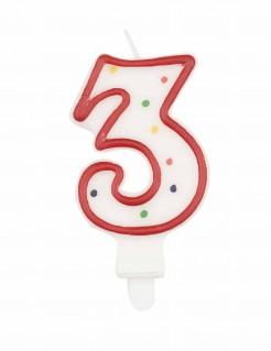 Torten-Kerze Zahl 3 mit Kerzenhalter bunt 7,5cm